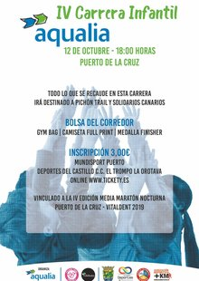 Event cartel carrera infantil aqualia 2019