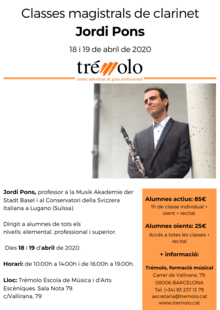 Classes magistrals de clarinet Jordi Pons