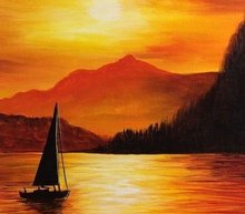 Event grid sunset painting ideas sailboat with golden sunset mountain background s 20296 25