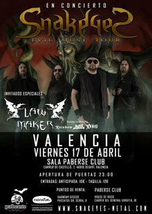 Concierto de SnakeyeS en Valencia - Evil Moust Tour 2020 + Law Maker