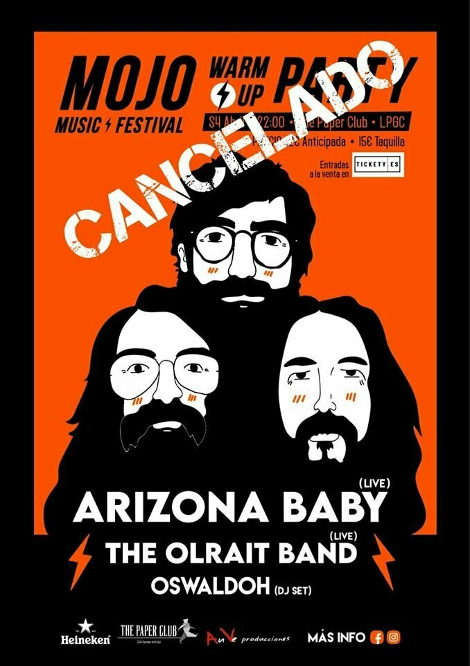 COMUNICADO THE PAPER CLUB CANCELACIÓN WARM UP PARTY MOJO MUSIC FESTIVAL CONCIERTO DE ARIZONA BABY Y OLRAIT BAND.