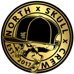 Large north skull crew pegatina logo